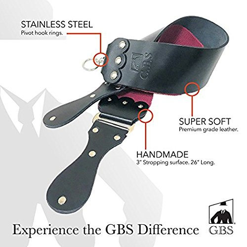 GBS Handmade Premium Black and Maroon Barber Straight Razor and Knife Leather Twin Sharpening Strop/Strap - 3' x 26' The Best