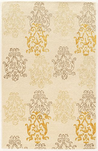 Linon Aspire Collection Wool Damask Gold Synthetic Rugs, 5'X 8' , Off/White