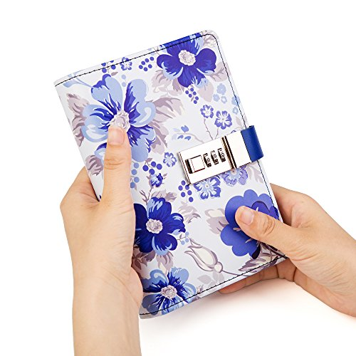 Lock Journal Binder Diary Notebook a6 Refillable 6 Ring Locking Diary Faux Leather Cute Flowers 160 Pages Personal Journal to Write in by CAGIE