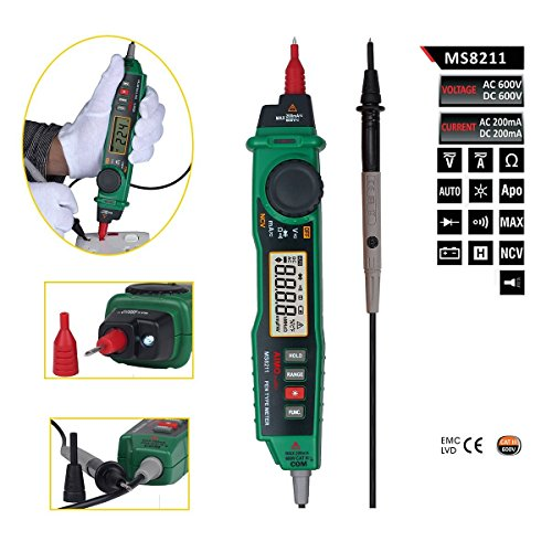 Olymstore MS8211 Pen-Stil Digital Multimeter, 2000 Zählt Autorange AC / DC Spannung Strom Widerstand Temperatur/ Hintergrundbeleuchtung