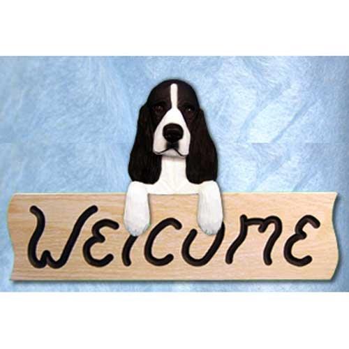Michael Park English Springer Spaniel Black Welcome Sign Oak