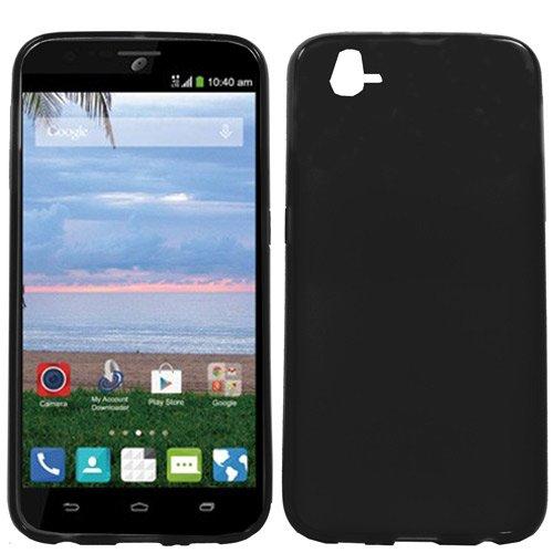 ZTE Lever case, Luxca (TM) For ZTE Lever / ZTE Z936L (Straight Talk) Soft Gel TPU Skin Case Cover + Premium Screen Protector + Stylus Pen Touch Screen (Crystal Skin Solid Black)