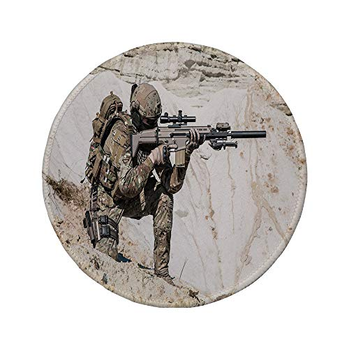 "Non-Slip Rubber Round Mouse Pad,Army Decor,United States Ranger on The Mountain Targeting with Gun Camouflage War Picture,Beige Green,11.8""x11.8""x5MM"