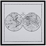 "World Map Hemisphere Print in Black and White, Black Frame, 12.5"" x 12.5"""