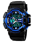 Fanmis Military Sports Wristwatch Analog Digital Multifunction Alarm Dual Time Waterproof LED Watch Blue