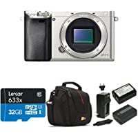 Sony Alpha a6000 Mirrorless Digital Camera - Body only (Silver) Deluxe Bundle