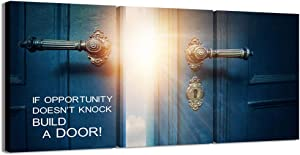 Visual Art Decor 3 Pieces Success Inspiration Quote Canvas Wall Art If Opportunity Doesn't Knock Build a Door Motivation Motto Framed Giclee Prints Home Office Decoration