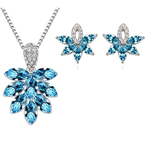 Aqua Brass Cut Collection - [RIZILIA LEFT] Jewelry Set Pendant with 18