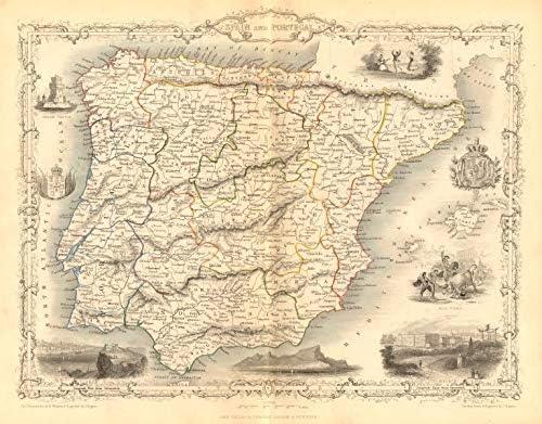 España & Portugal. Madrid Vista de Gibraltar. Iberia RAPKIN/Tallis - C1855 - Mapa Antiguo Vintage Impreso mapas de Iberia: Amazon.es: Hogar