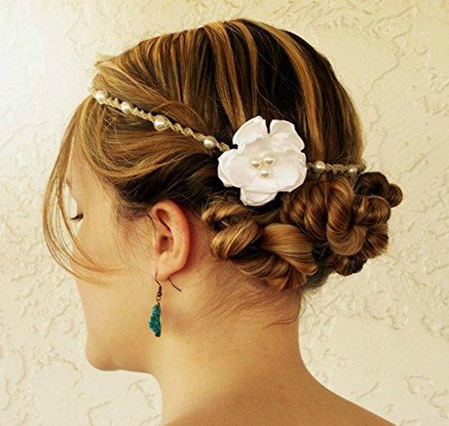 Pearl wedding headband braided hemp and flower