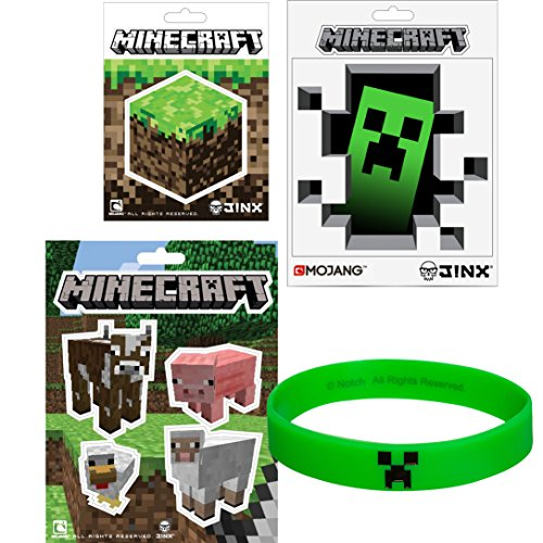 Party Pack Decal (JINX Minecraft Stickers & Creeper Rubber Bracelet Party Pack)