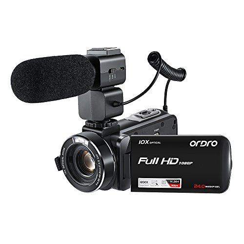 ORDRO HD Camcorder with External Microphone 1080P Digital Video Camera by ORDRO