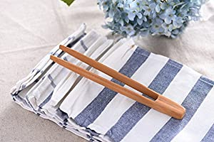 WOOD MEETS COLOR Kitchen Tongs 4 Pack, Cooking Natural Bamboo Food Clip, Set of 4
