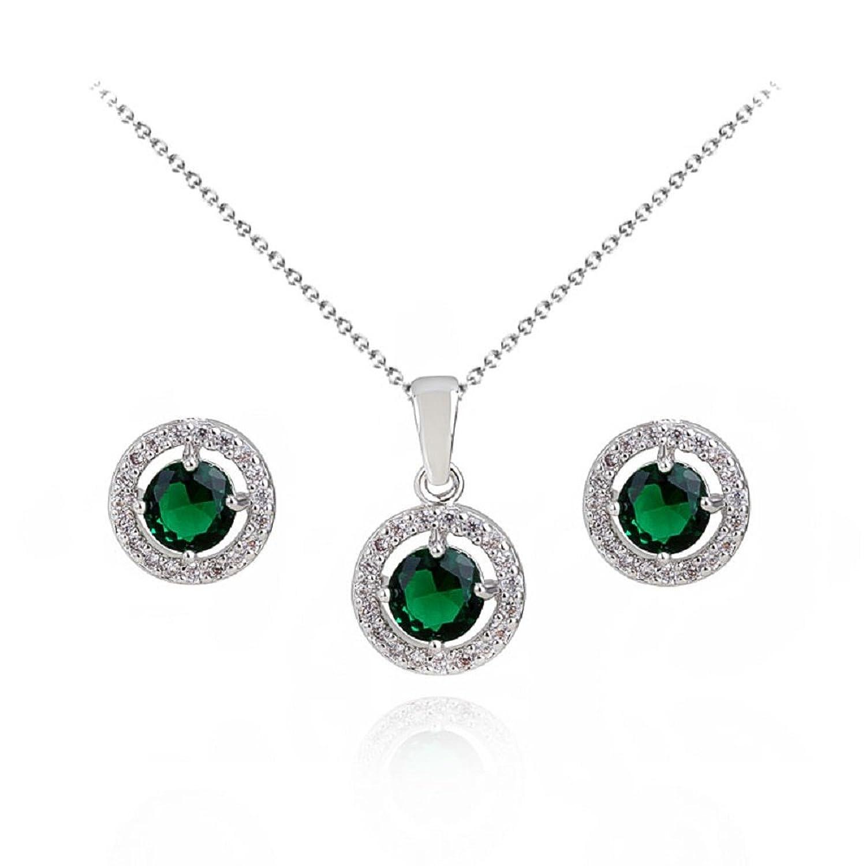 Redondo Esmeralda simulada verde Cristales austríacos de Zirconia Juego de joyas Collar