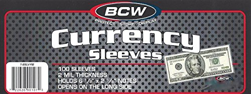 per Money Bill Protector Sleeves for Regular Bills by BCW ()