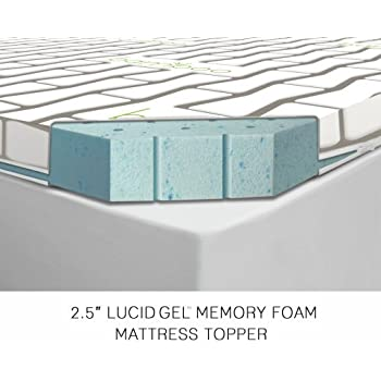 lucid 2 5 inch gel infused ventilated memory foam mattress topper with removable. Black Bedroom Furniture Sets. Home Design Ideas