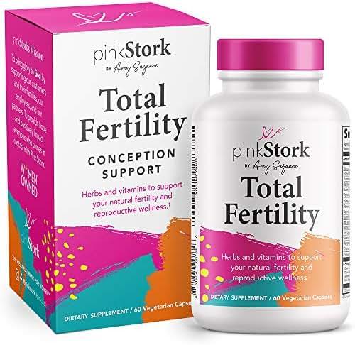 Pink Stork Total Fertility: Fertility Supplements + Healthy Cycles + Vitamin C + Vitex + Prenatal Vitamins, Women-Owned, 60 Capsules