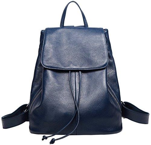 Genuine Leather Backpack for Women Elegant Ladies Travel School Shoulder Bag (Blue)