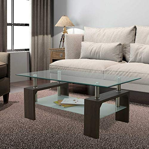 Rectangle Glass Coffee Table-Modern Side Table
