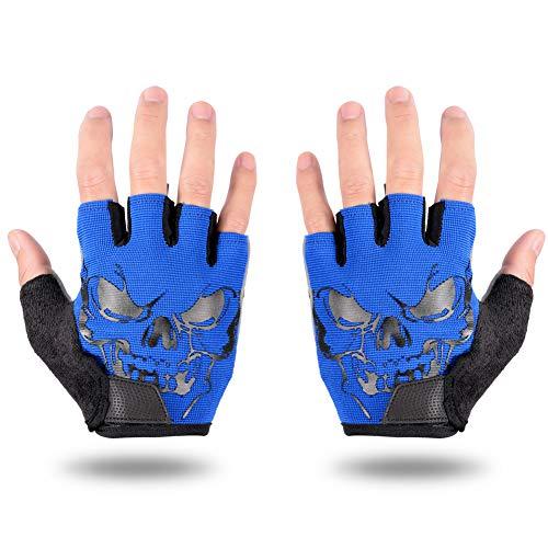 LYCAON Cycling Gloves, Gel EVA Padding, Half Finger Mitten for Cycling, Golf, Baseball, Football, Driving, Archery (L, Blue)