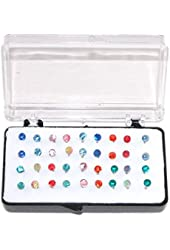 "Set of 36 1/8"" Crystal Stud Earrings, 18 Pairs, on Nylon (Plastic) Posts"