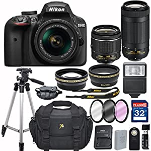 Nikon D3400 DX-format Digital SLR w/ AF-P DX NIKKOR 18-55mm f/3.5-5.6G VR and 70-300mm F/4.5-5.6G DX Lens + 32GB Memory Accessory Bundle – International Version