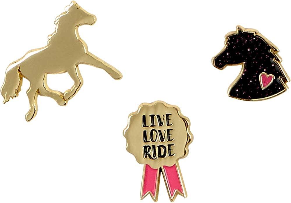 Metall Pins Pferdemotive zum Anstecken vergoldet 2x2x1cm I Love Horses 14670 EAN