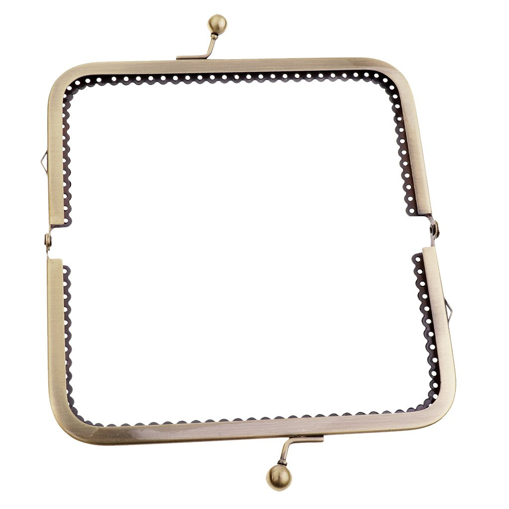 Baoblaze Square Metal Purse Bag Frame Kiss Clasp Lock With Handle DIY Crafts 15cm