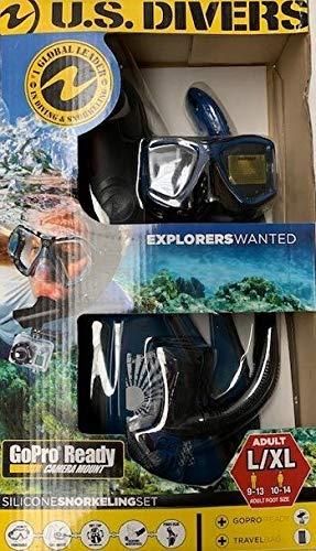 US Divers ADULT L//XL Mens 9-13 Womens 10-14 shoe size Snorkeling Set-Snorkel//Fins Silicon set