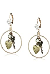 "Betsey Johnson ""Wanderlust"" Multi-Charm Round Drop Earrings"