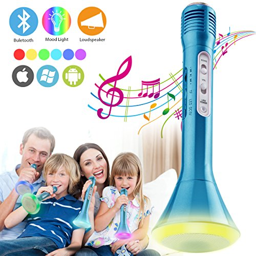 Wireless Bluetooth Karaoke Microphone for Kids, Portable Karaoke Player Machine with Speaker, Karaoke Mic for Home Party Music Singing Playing, Support iPhone Android IOS Smartphone PC iPad (Blue) by Luckymore