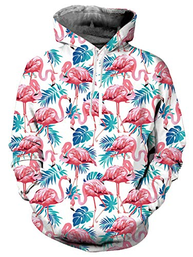 Belovecol Unisex Flamingo Graphic Pullover Hoodies for Couples Youth Cotton Casual Fleece Long Sleeve Hooded Sweatshirt with Drawstring - Couple Cotton Hoodie