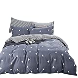 BuLuTu Geometric Triangle Cotton Twin Teen Bedding Collections Navy/Grey 3 Pieces Reversible Promotional Boys Bedding Duvet Cover Sets Zipper Closure for Kids Adults,68''x86''