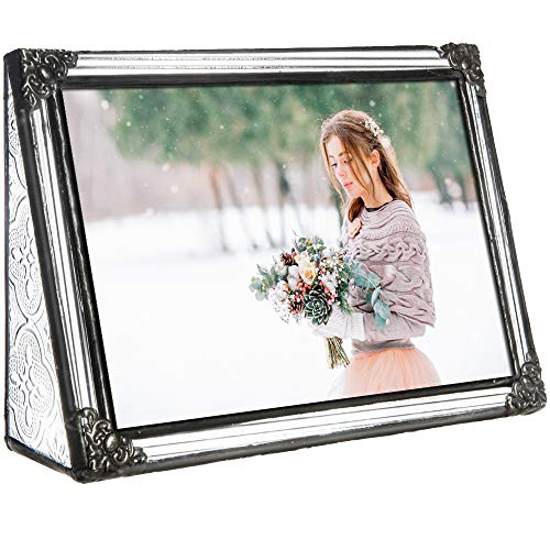 J Devlin Pic 360-46H Vintage Stained Glass Picture Frame Tabletop 4 x 6 Horizontal Photo Keepsake