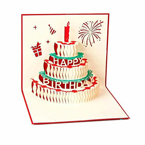 IShareCards Handmade 3D Pop Up Happy Birthday Cards Creative Greeting Cards Papercraft (5 Layers Happy Birthday Cake Red)