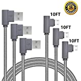 Micro USB Cable, CTREEY 90 Degree 3 Pack 10FT Long Premium Nylon Braided Android Fast Charger USB to Micro USB Charging Cable for Samsung Galaxy S7 Edge/S6/S5, Note 5/4/3 (3 Pack 10FT Grey)