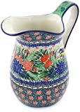 Polish Pottery 50 oz Pitcher made by Ceramika Artystyczna (Garden Bird Theme) Signature UNIKAT + Certificate of Authenticity