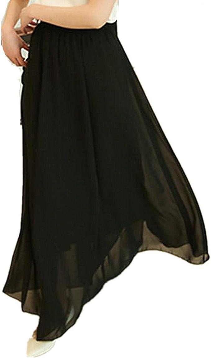 Jipai(TM) Mujer Gasa Retro Falda Largo Vendimia Maxi Falda Plisada ...