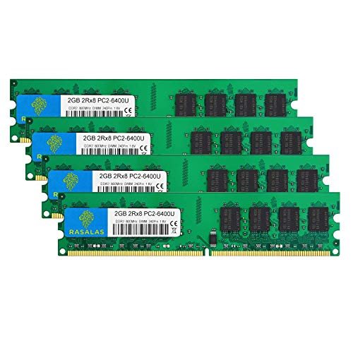Rasalas DDR2 800mhz PC2-6400 DDR2 8GB Ram (4x2GB) PC2-6400u DDR2-800 Udimm Ram Desktop Memory DDR2 800mhz DDR2 Ram 2GB 1.8V CL6 Non-ECC Unbuffered Desktop Memory Modules