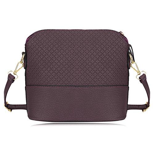 MIOIM Damen Stilvolle Schulter Handtasche Plaid Muster kleine Deer Anhänger Shell Form klein Weiche PU Leder Umhängetasche Tasche Lila we1nM