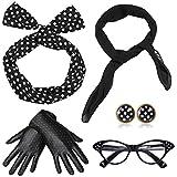 ArtiDeco 1950s Accessories Bandana Tie Headband Chiffon Scarf Cat Eye Glasses 50s Earrings and Gloves 50s Costume Accessories (Black)