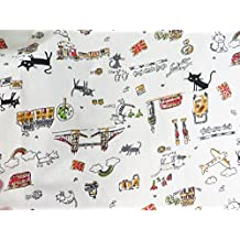 1 yard vintage retro cats cotton linen sewing quilting cloth fabric 59 inches wide