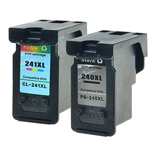 GREENCYCLE Hight Yield Ink Cartridge For Canon PG-240XL CL-241XL Black and Tri-color Set - Black,1 Pack and Color,1 Pack