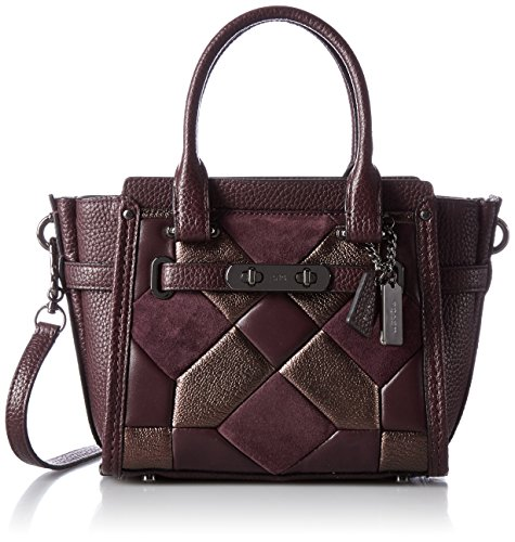 COACH Women's Canyon Quilt Mix Coach Swagger 21 DK/Oxblood Bronze Satchel