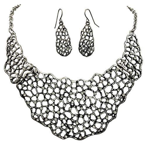 Gypsy Jewels Abstract Cluster Bib Statement Boutique Necklace & Earrings Set (Open Silver Tone Rhinestones)