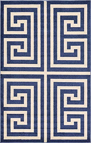 (Unique Loom Athens Collection Geometric Casual Modern Border Navy Blue Area Rug (5' 0 x 8' 0))