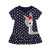 Jchen(TM) Little Kids Baby Girls Dress Cute Cartoon Deer Dot Print Short Sleeve Party Casual Princess Dress for 1-7 Y (Age:3-4 Years, Navy)