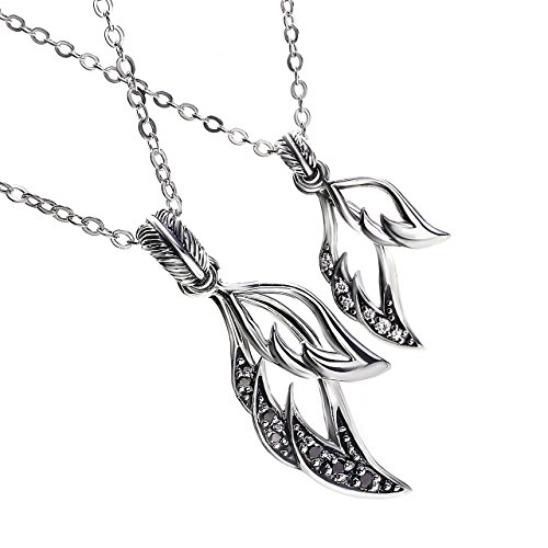 VELVY Silver 925 Double Wing Couple Pair Pendant Necklace Men's Women's (With Paper Box BOX) tb315 by VELVY