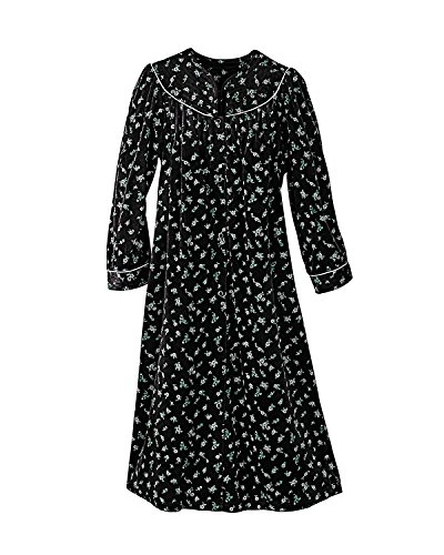 Flannel Duster (National Floral Velour Snap-Front Housecoat, Black,)