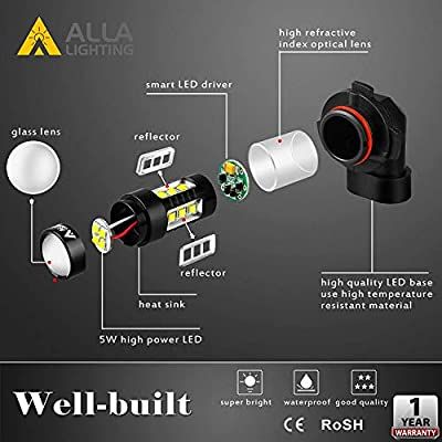 Alla Lighting Extremely Super Bright 12278 PSX26W LED Fog Light Bulbs High Power 80W Cree 12V H28W DRL Replacement, 6000K Xenon White: Automotive